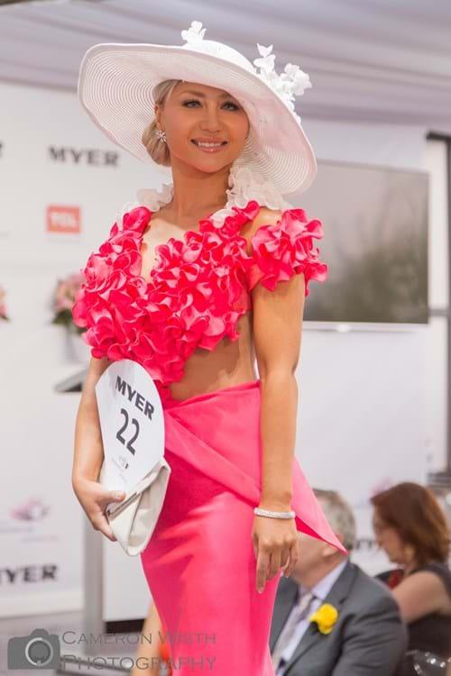 Celebrity model cindy wearing Andrea Agosta Designer Jewellery at the Melbourne Cup