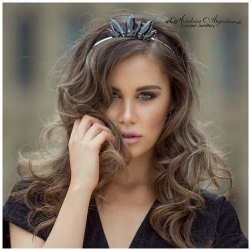 Esma Voloder Victorian Finalist Miss World Australia wears the liberty tiara by Andrea Agosta