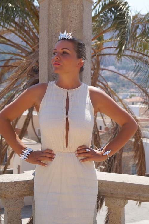 Stylist Anna Pappas showcases Andrea Agosta Designer Jewellery In Mykonos